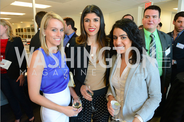 Lara Eurdolian, Amy Harder and Elahe Izadi at the New Republic Office Party