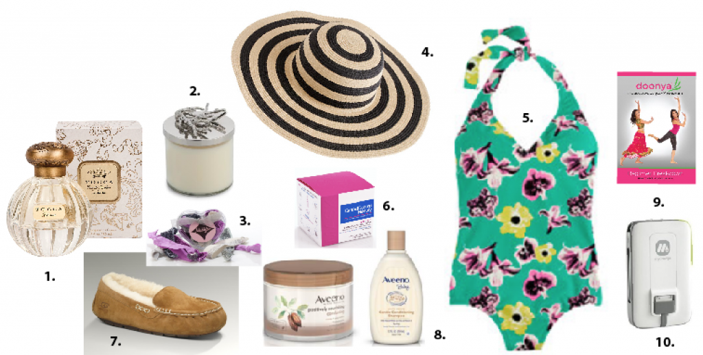 1. Tocca Liliana $68 2. Micheal Aram $60 3. Maddyloo $15 4. J.Crew hat $39.50 5. J.Crew Bathing suite $98 6. Grand Central Beauty Mask $75 7. Ugg Slippers $99 8. Aveeno $5.99-$8.49 9. Doonya Dance Fitness Series $12.99 or $24.99 for a set of 3 10. Summit 3000 $80